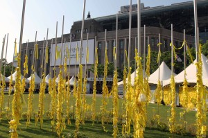 Seoul's Old City Hall with yellow memorial ribbons in foreground.