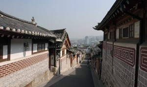 Street in Bukchon Hanok Village.