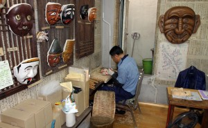 Traditional Korean masks being made.