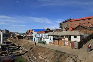 Slummy looking area of Ulaanbaatar on the way to Janraising Temple.