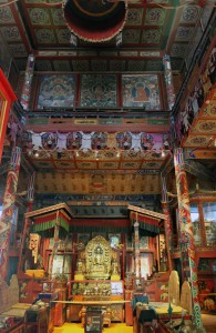 Inside the main temple in the monastery.