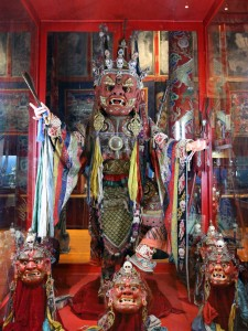 Masks and costumes of 'deities' for Buddhist religious ceremonies.
