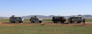Our caravan of four vehicles (all operated by tour companies).
