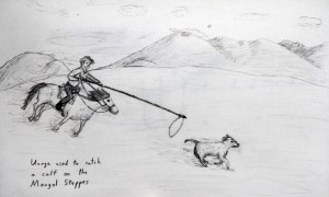 Sketch of a Mongolian cowboy catching a calf with an uurga (a long pole with a rope looped at the end).