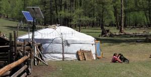 The nomadic family's ger.