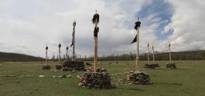 Shamanic spiritual totem poles.