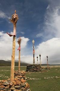 Shamanic totem poles.