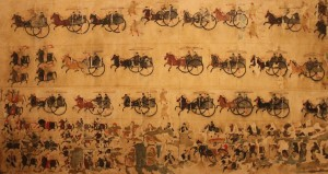 Detail of 'Traveling Procession with Chariots and Horses', a mural painting unearthed from an eastern Han tomb.