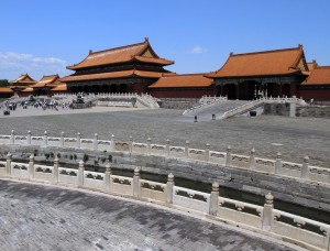 The Gate of Supreme Harmony and stream in foreground inside the Forbidden City.