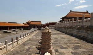 The three tiers surrounding and supporting the Hall of Supreme Harmony.