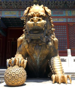 Gilded lion statue found in the Forbidden City.