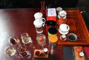 Tea ceremony with six different types of tea to try.