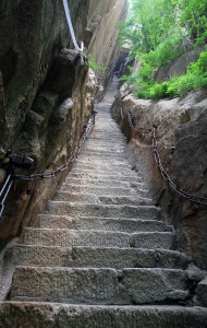 "The ""Thousand-feet Canyon"", 370 stone steps through a crack between cliffs."