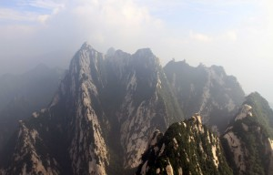 View from the bridge on the side of the Mount Hua.