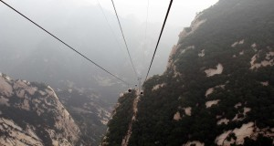 View from the West peak cable car, descending Mount Hua.