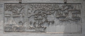 Relief on the wall surrounding the Giant Wild Goose Pagoda in Xi'an.