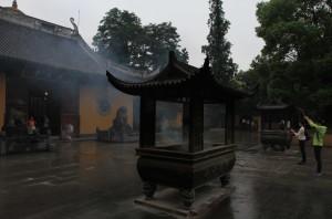 Incense burning inside Longua Temple complex.