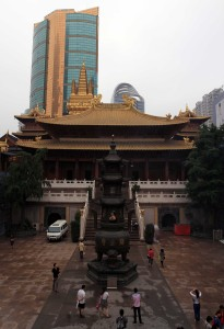 The main hall inside the Jing'an Temple complex.