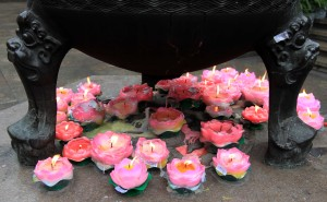 Lotus flower candles used in the Jade Buddha Temple.