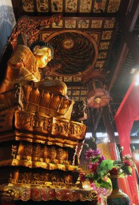 Giant Buddha statue found inside one of the halls in the Jade Buddha Temple.