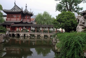 Bridge over a pond in the Yuyuan Gardens.