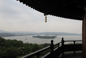 View of West Lake from LeiFang Pagoda in Evening Glow.