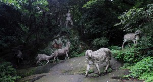 Statues of a shepherd boy and his flock, from an old Chinese legend  regarding West lake.