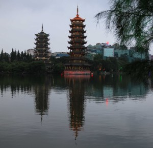 The Sun and Moon Pagodas by Fir Lake in Guilin.