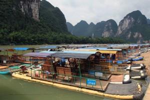 Bamboo rafts docked, waiting to take passengers down the Li River.