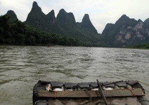 View from the bow of the bamboo raft.