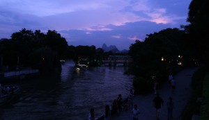 River in Guilin at sunset.