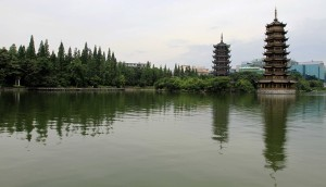 The Sun and Moon Pagodas on Fir Lake.
