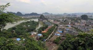 View of the south side of Guilin from Bright Moon Peak on Diecai.