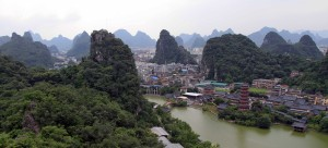 View of the north side of Guilin from Bright Moon Peak on Diecai.
