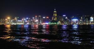 Skyscrapers on Hong Kong Island at night.