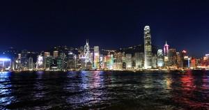 Another view of Hong Kong Island at night.
