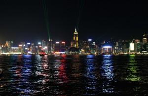 The light show seen from Kowloon peninsula, looking at Hong Kong Island.