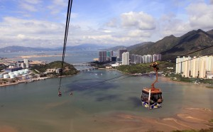 The cable car ride up to Ngong Ping Village, looking back at Tung Chung.