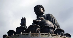 Close up of the giant Buddha statue.