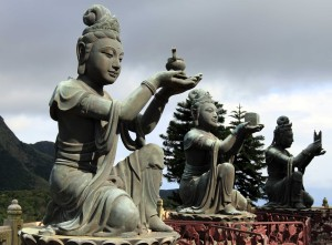Three of the six statues found near the giant Buddha statue.