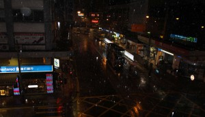 Central area of Hong Kong Island during a night shower.