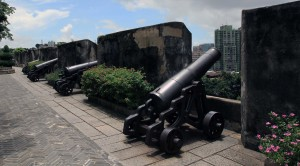 Canons placed along the battlement of Mount Fortress.