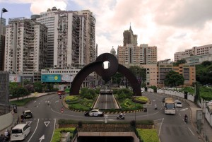 Circular overpass and arch in Macau.