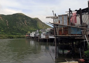 Stilt houses along the shore in Tai O.
