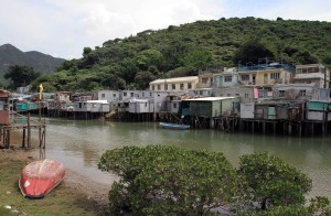 Stilt houses of Tai O along the river.