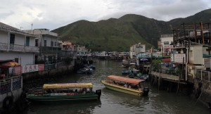 Passenger boats launching on one of the rivers that run through Tai O.