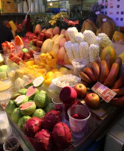 Fruit stall at Shilin night market.