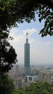 Taipei 101 in the background and giant nasty looking spider in the foreground.