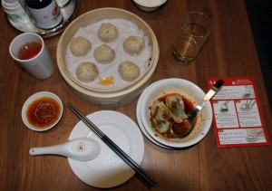 My dinner of xiao long bao, wontons, beer, and tea courtesy of Din Tai Fung.