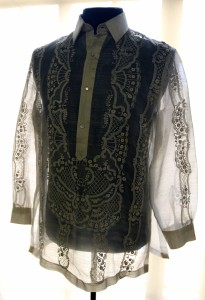 "A piña barong; piña fabrics are woven from the leaves of the ""Red Spanish"" variety of pineapple."